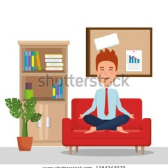 Yoga Sofa Comfortable Sectional Sofas Chaise Business Man Practicing Stock Vector Royalty Free In The