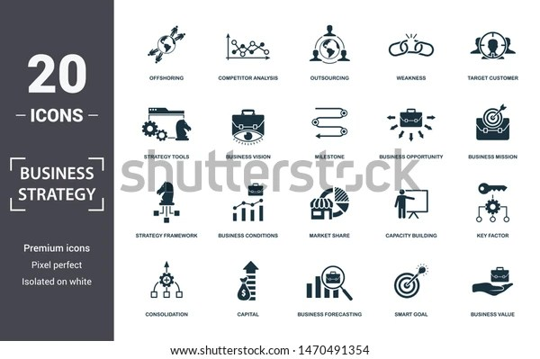 Business Strategy Icon Set Contain Filled Stock Vector Royalty Free 1470491354