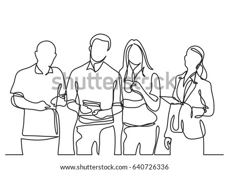 Business Team Continuous Line Drawing Stock Vector