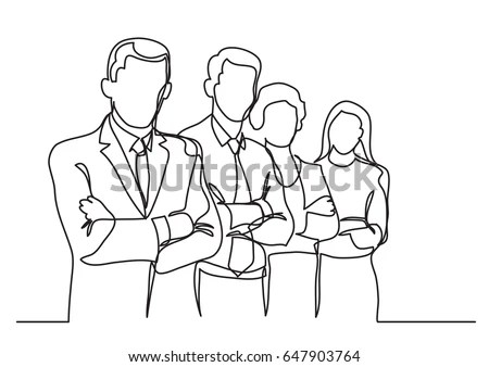 Business Team Single Line Drawing Stock Vector (Royalty