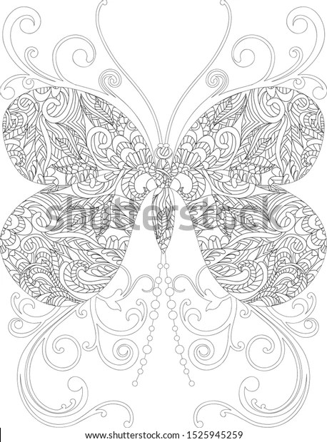 Butterfly Coloring Page Adult Stock Vector Royalty Free 1525945259