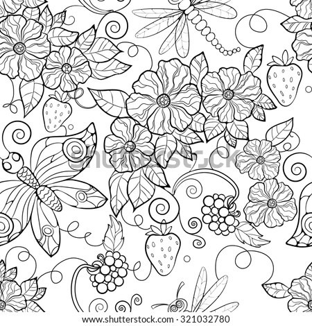 Butterfly Pattern Flowers Coloring Pages Adults Stock