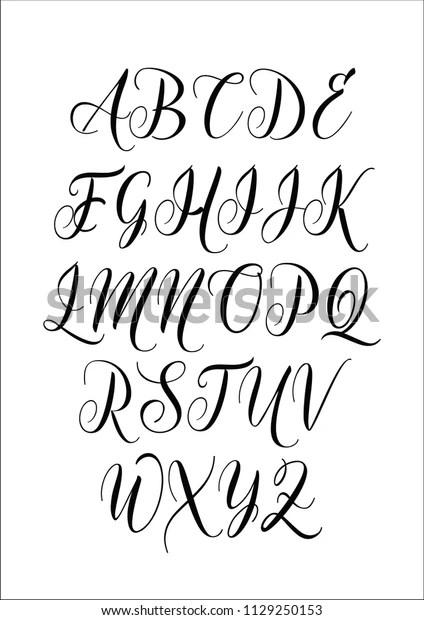 Calligraphy Alphabet Letter Set Lettering Design Stock