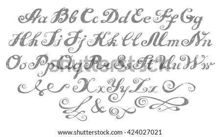 Calligraphy Alphabet Typeset Lettering Hand Drawn Stock