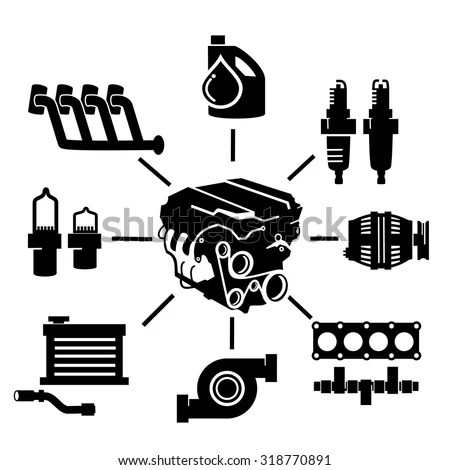 Car Engine Parts Icons Stock Vector (Royalty Free