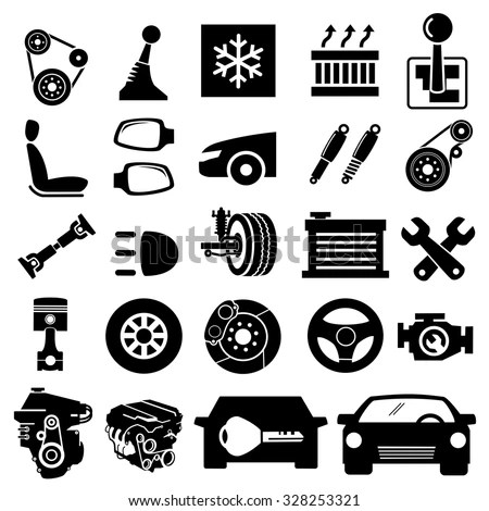 Car Parts Icons Vector Stock Vector (Royalty Free