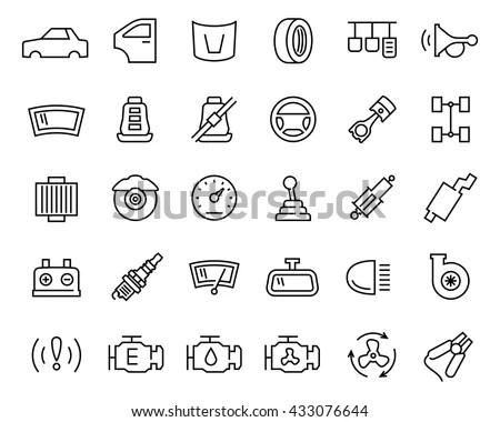 「Car Parts Vector Icon Set Thin」のベクター画像素材(ロイヤリティフリー
