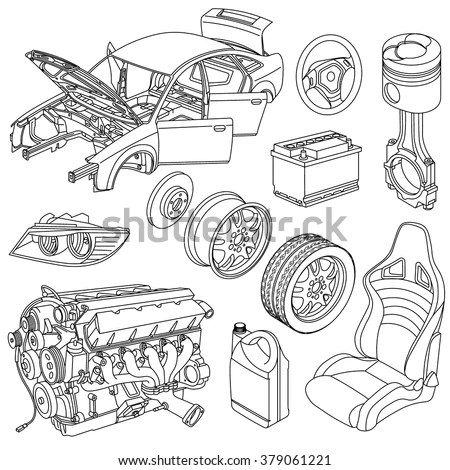 Car Spare Parts Outline Engine Body Stock Vector (Royalty