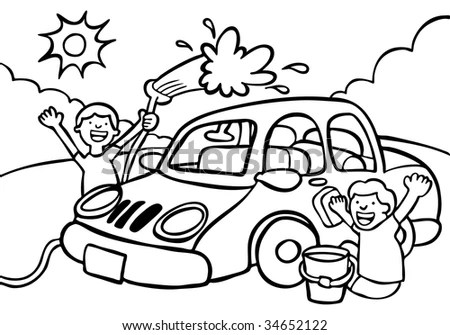 Car Wash Fundraiser Line Art Stock Vector (Royalty Free