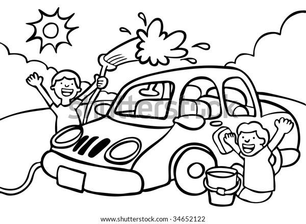 Car Wash Fundraiser Line Art Stock Vector (Royalty Free