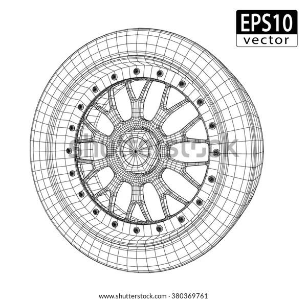 Car Wheel Wire Model Eps10 Vector Stock Vector (Royalty