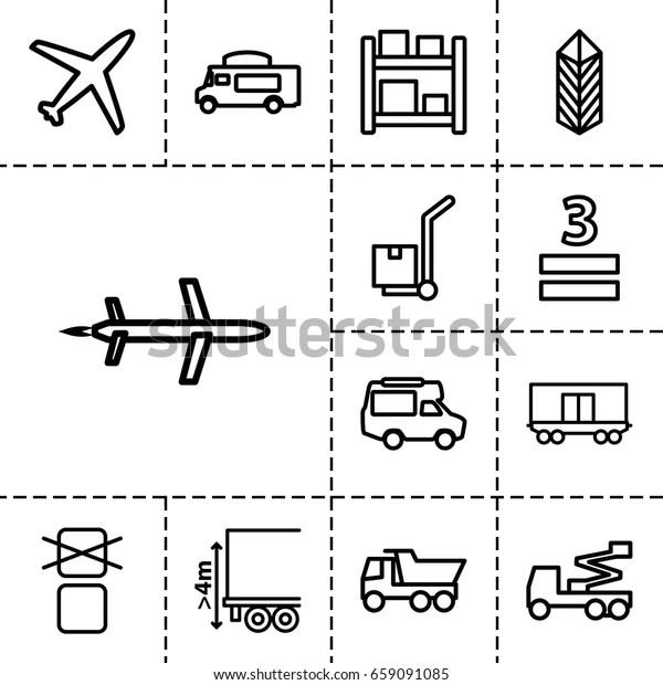 Cargo Icon Set 13 Outline Cargoicons Stock Vector (Royalty