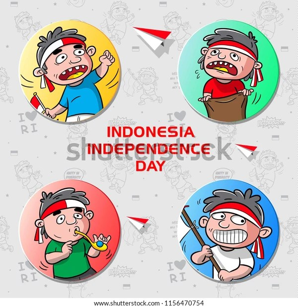 Cartoon Celebration Indonesia Independence Day Poster Stock Vector Royalty Free 1156470754