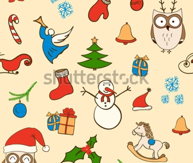 Cartoon Christmas Seamless Pattern With Snowman Owls Gift Boxes And Other Elements Seamless