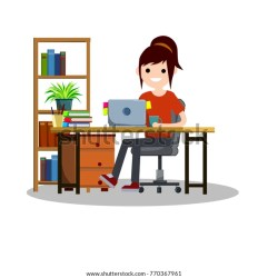 Cartoon Flat Illustration Young Girl Student Stock Vector Royalty Free 770367961