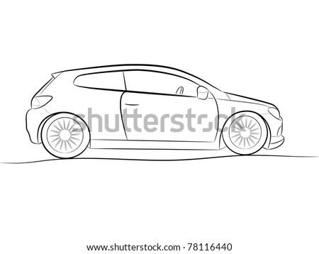 Cartoon Silhouette Black Car On White Stock Vector