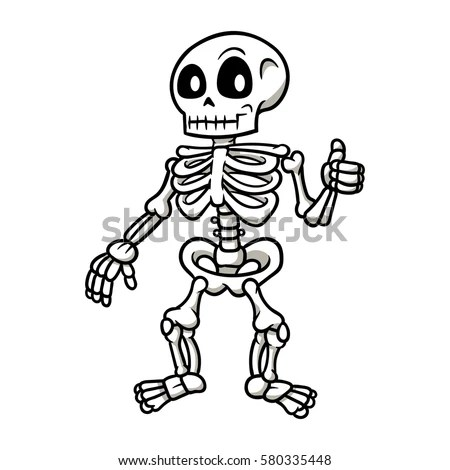 Cartoon Skeleton Giving Thumbs Vector Illustration Stock