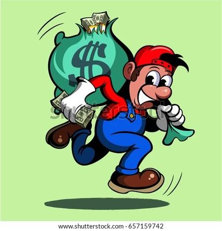Cartoon style man running with bag of money