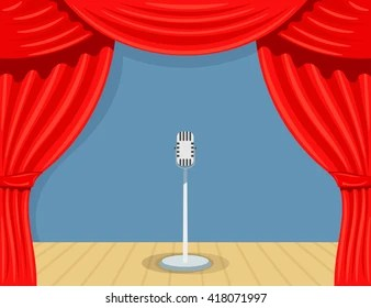 cartoon red curtains images