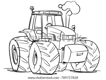 Cartoon Tractor Outline Illustration Coloring Book Stock