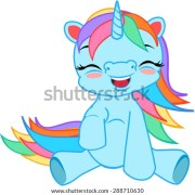 cartoon unicorn rainbow hair stock