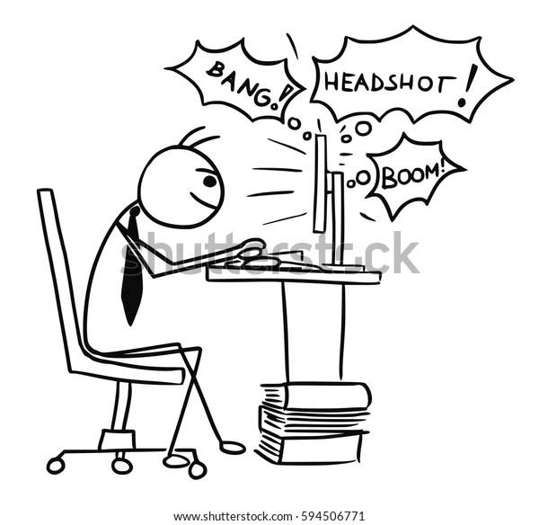 Cartoon Vector Doodle Stick Man Businessman Stock Vector