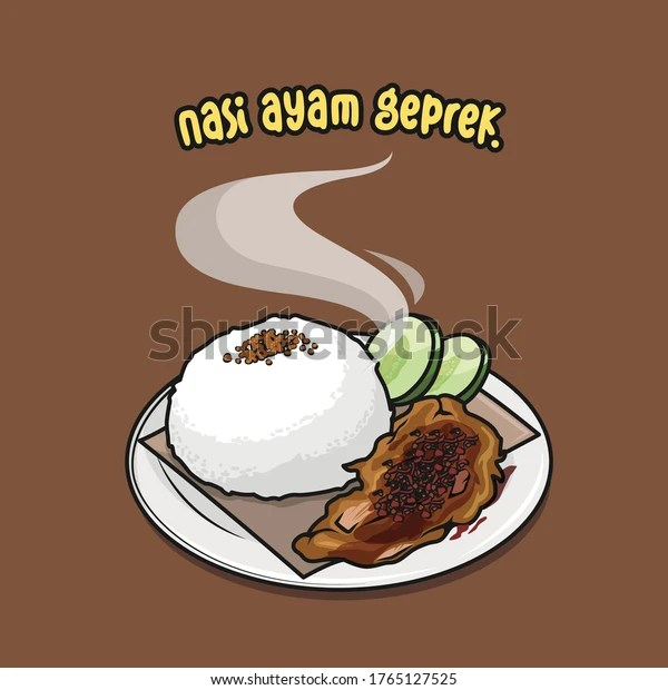 Cartoon Vector Illustration Indonesian Food Ayam Stock Vector Royalty Free 1765127525