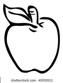 apple cartoon outline stock