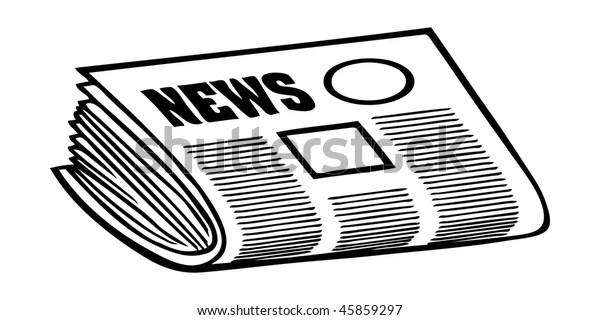 Cartoon Vector Outline Illustration Newspaper Stock Vector
