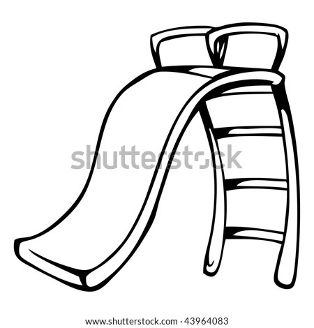 Cartoon Vector Outline Illustration Playground Slide Stock