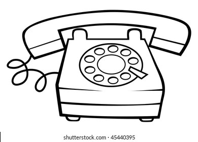 Cartoon Illustration Outline Telephone Vector Images