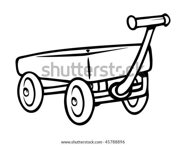 Cartoon Vector Outline Illustration Toy Wagon Stock Vector