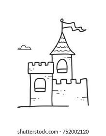 Castle Line Drawing : castle, drawing, Castle, Drawing, Stock, Images, Shutterstock