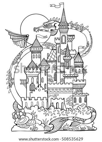 Castle Dragon Vector Illustration Fantasy Drawing Stock