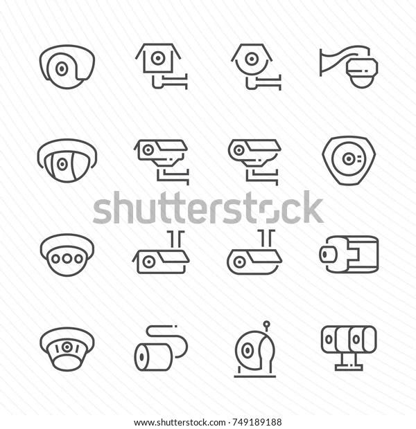 Cctv Camera Vector Icon Set Stock Vector (Royalty Free