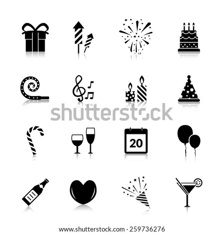 Celebration Icons Black Set Gift Box Stock Vector (Royalty
