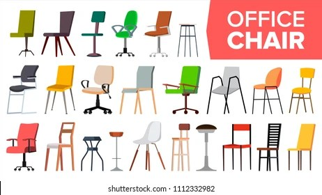 https www shutterstock com fr image vector chair set vector office modern desk 1112332982