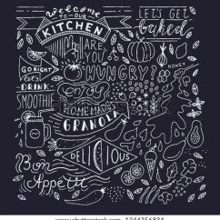 Kitchen Blackboard Mixer Chalkboard Art Lettering Wall Stock Vector Sign Cafe Template Design