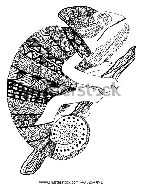 Chameleon Tattoo Chameleon Zentangle Lizard Doodle Stock Vector