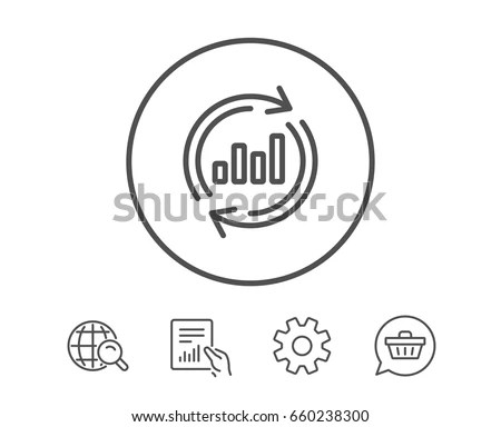 Chart Line Icon Update Report Graph Stock Vector (Royalty
