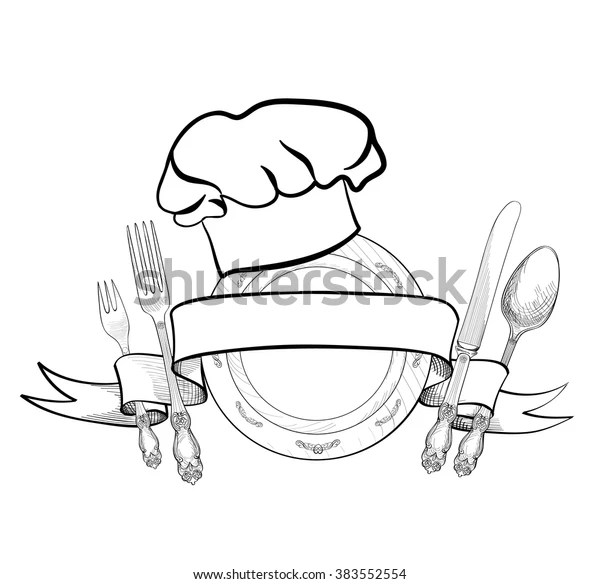 Chef Cook Hat Fork Spoon Knife Stock Vector (Royalty Free