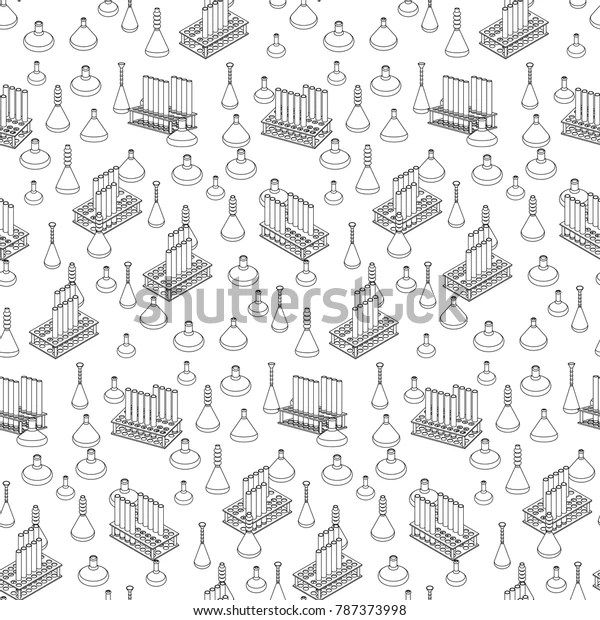 Chemical Laboratory Equipment Icons Vector Seamless Stock