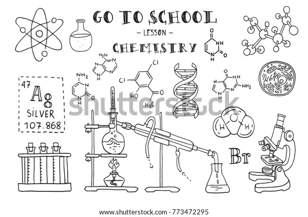 Chemistry Hand Sketches On Theme Chemistry Stock Vector