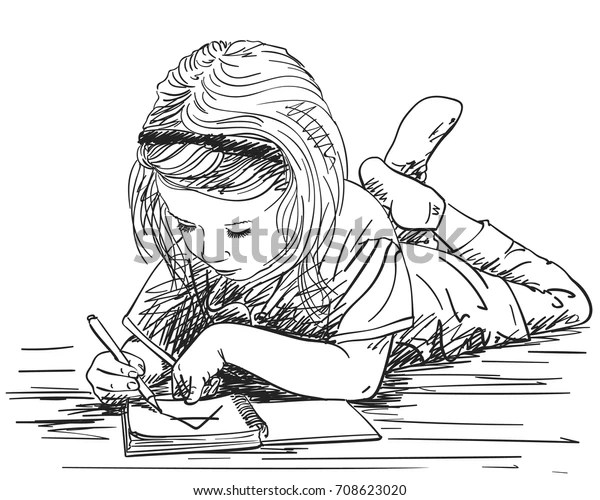 Child Girl Writing Note Book Big Stock Vector (Royalty