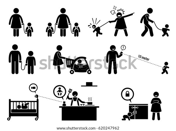 Child Safety Monitor Equipment Artwork Depicts Stock