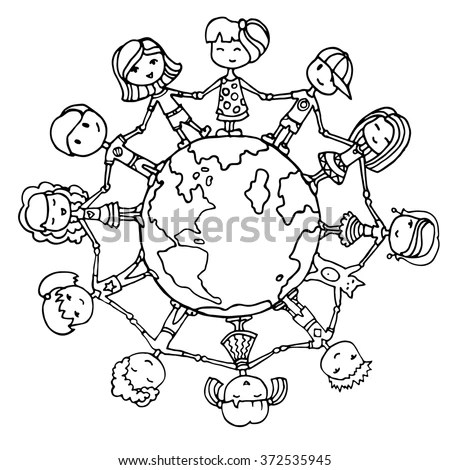 Vetor stock de Children Around World Kids Around World