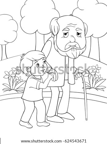 Children Coloring Page Boy Helps Old Stock Vector (Royalty