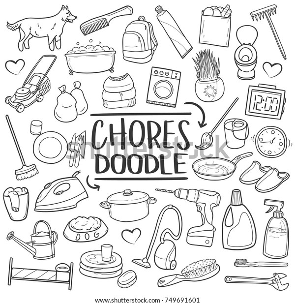 Chores Home Traditional Doodle Icons Sketch Stock Vector