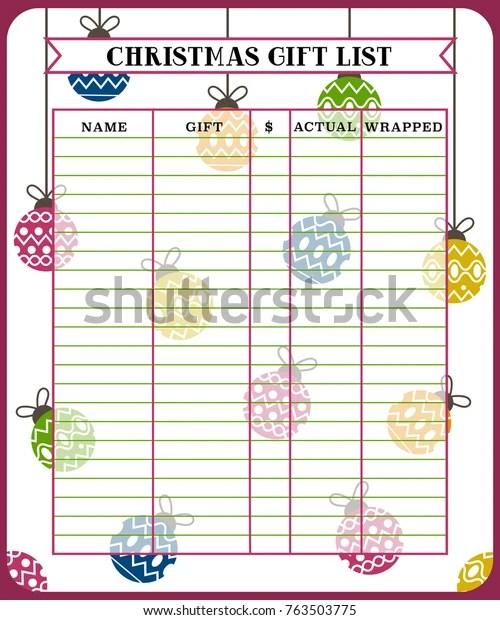 Christmas Gift List Planner