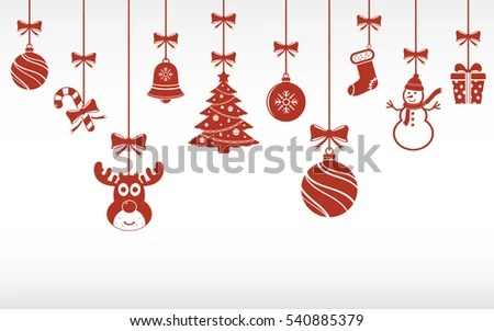Christmas Red Ornaments Hanging Merry Christmas Stock